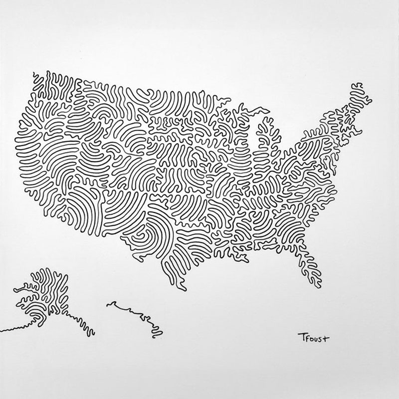 tyler foust draws map of usa in 3 lines reddit.jpg2  A Map of the USA Drawn with Just 3 Lines