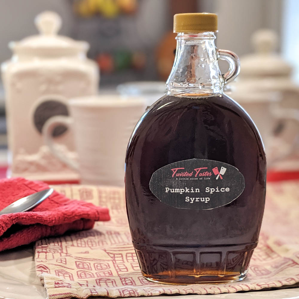 Pumpkin spice syrup in a bottle