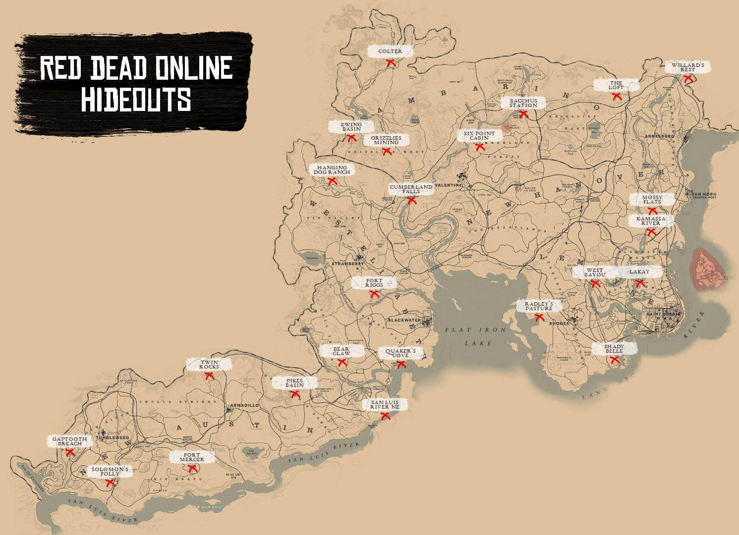 Red Dead 2 World Map.Red Dead Online Guide All Red Dead Online Hideouts Location World Map