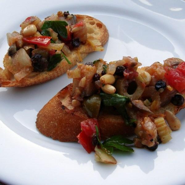 Eggplant Caponata Bruschetta (Vg)