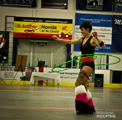Two hula hoops during performance