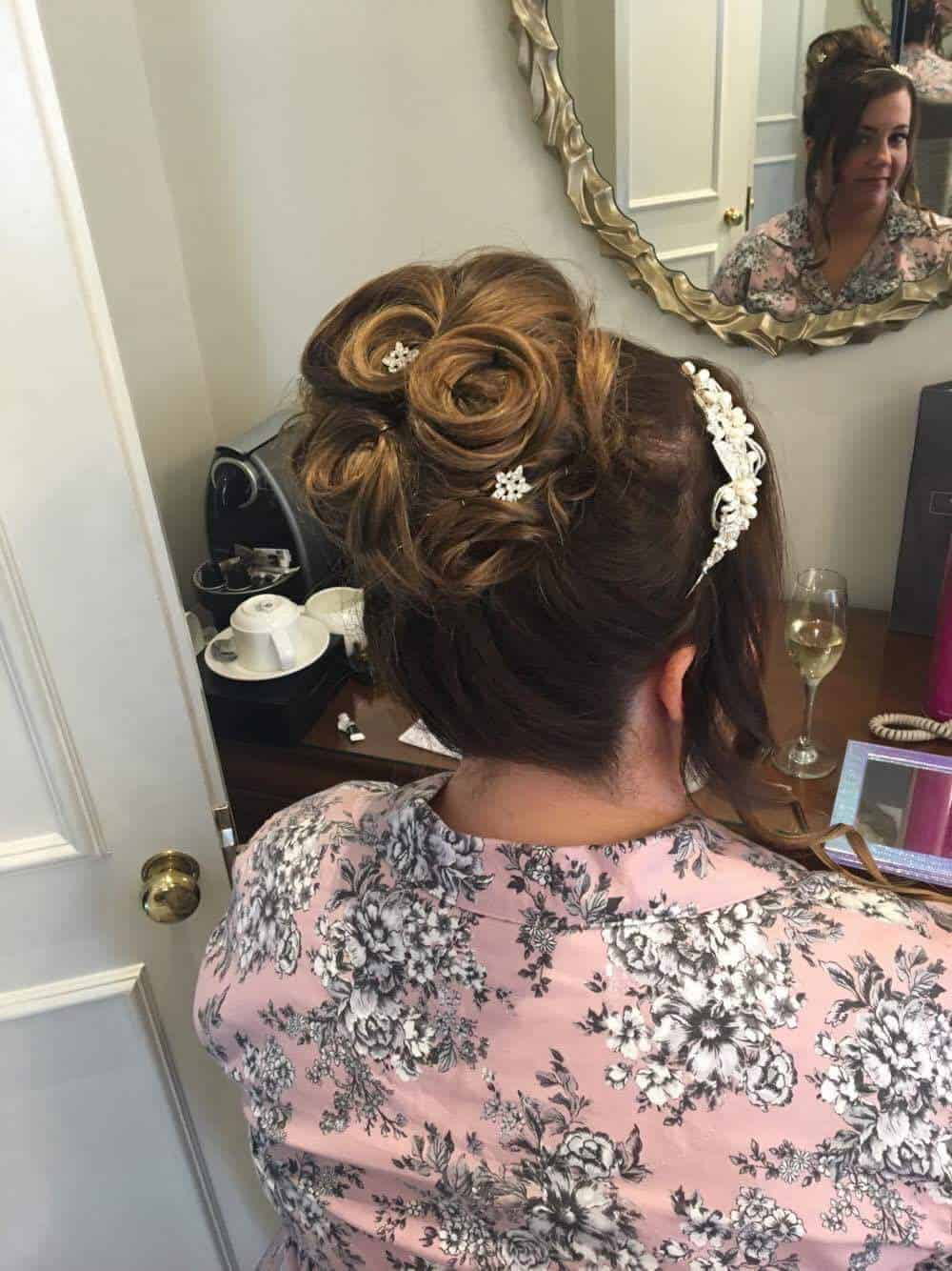 Bridal hair whirls updo