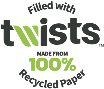 Filled with Twists. Made with 100% recycled paper.