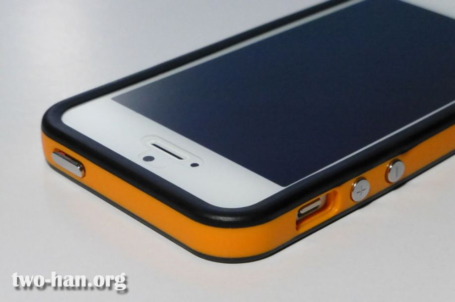 Soft TPU Bumper for Apple iPhone 5・Orange/Black Frame