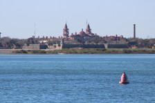 From the Vilano Beach Pier, looking across to the Castillo de San Marcos and behind it, Flagler College.