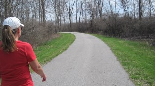 Walking the bike/hike path at Maumee.