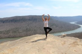 """Little Miss """"9.6 miles is not long enough"""" just needed a little more physical work, so """"yoga on the rocks"""" it is."""