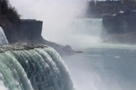 A look across American Falls and Bridal Veil Falls at Horseshoe Falls, all 3 of which make up Niagara Falls.