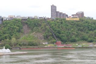 The Duquesne Incline, from across the river. You can see a piece of the Point Park Fountain at the bottom left.