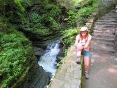 Jeanne taking five along the Gorge Trail.