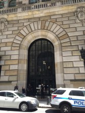 "Front door of the Federal Reserve. Machine guns say, ""No, you may not come in!"""