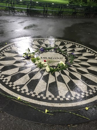 A tile mosaic tribute to John Lennon in Central Park.