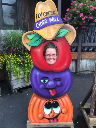 Jeanne's a ham, at the Fly Creek Cider Mill.