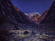One of the most beautiful parts of the trek, the valley in low light with Annapurna towering ahead.