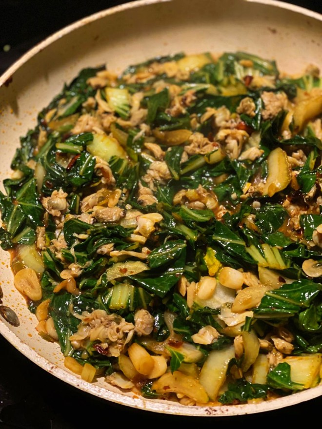 Spicy Baby Clams and Bok Choy