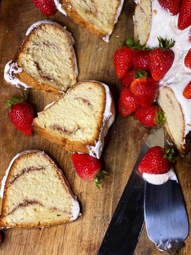Frosted Vanilla Bean Pound Cake + Strawberry Swirl