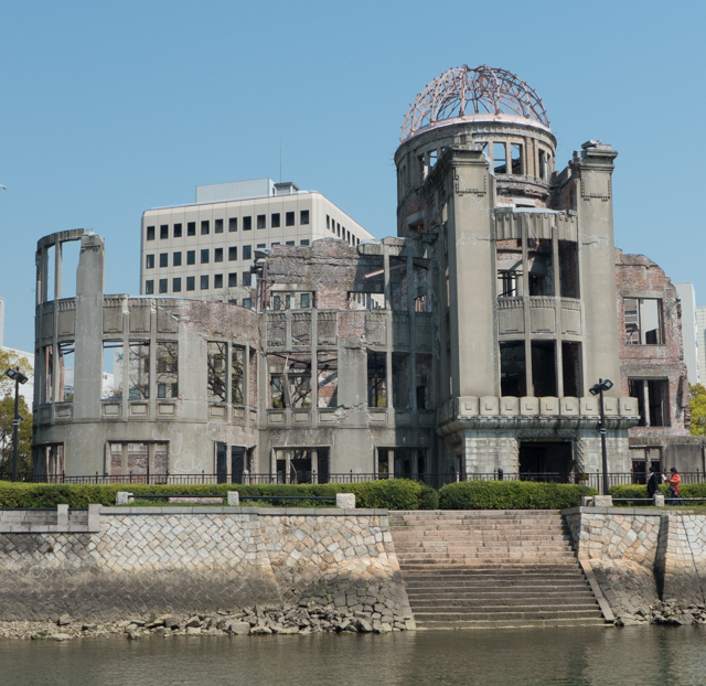 Our first view of the area known as Peace Park which is near ground zero for the first atomic bomb used in war.  The building now known as the Genbaku (A-Bomb) Dome was the only structure left standing near the bomb's hypocenter. The building was originally  completed in April 1915 and was eventually named the the Hiroshima Prefectural Industrial Promotion Hall. It was primarily used for arts and educational exhibitions. In 1996 this structure was added to the UNESCO World Heritage list as a reminder of the horrors of the atomic bomb and a symbol of global peace.
