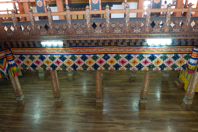 A view of the one of the main rooms of the the Punakha Dzong.