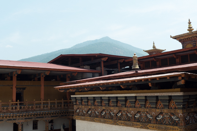 A view of the some of the building rafters of the the Punakha Dzong.