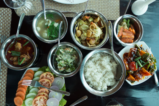 Our hikes have been well rewarded - too well rewarded - with traditional Bhutanese meals.