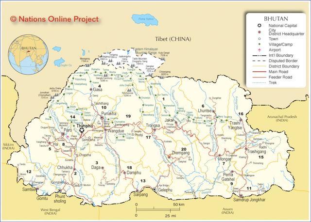 A more regional map of Bhutan.