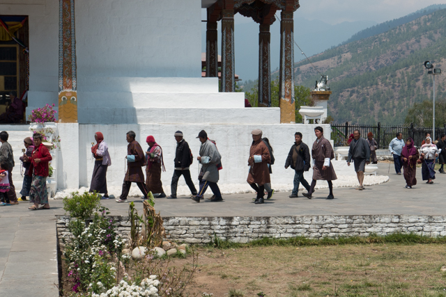 Many Bhutanese living in Thimphu will make 3 passes  (always clockwise) around this memorial chorten on their way to work and repeat the same ritual on their way home after work. It's believed that by doing this, they will be blessed.