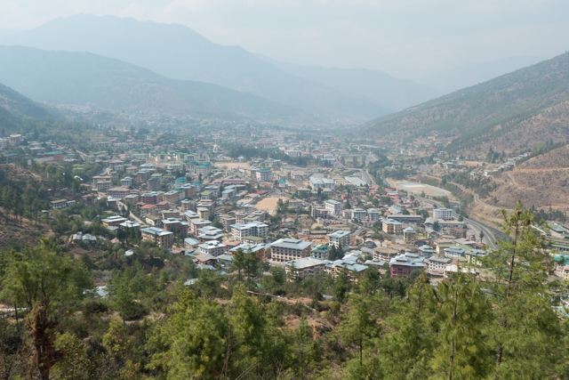A view of Thimphu from a surrounding mountain.