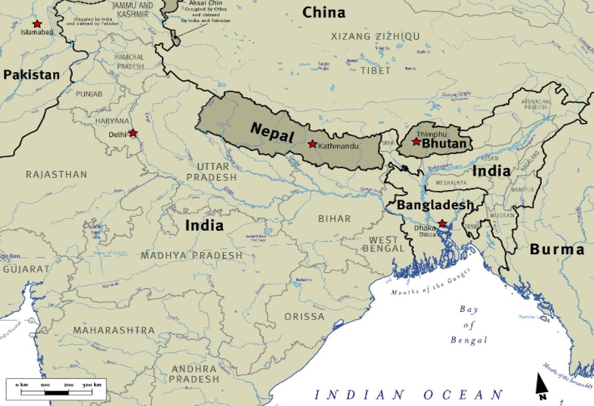 Map of Bhutan relative to its contiguous neighbors - India and the Tibetan region of China.