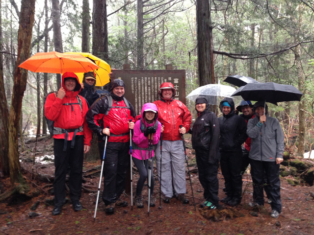 Our group....ready to brave the rain on our initial hike.  And this was supposed to be the easy day!