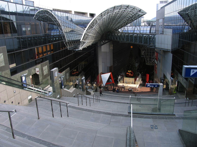 Kyoto Station from the top of the 15 flight of stairs