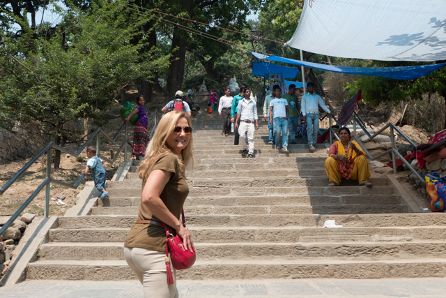 On our way up the Swayambhunath Hill to view a famous stupa.  A stupa is a mound-like or semi-hemispherical structure containing Buddhist relics, typically the ashes of Buddhist monks, used by Buddhists as a place of meditation.