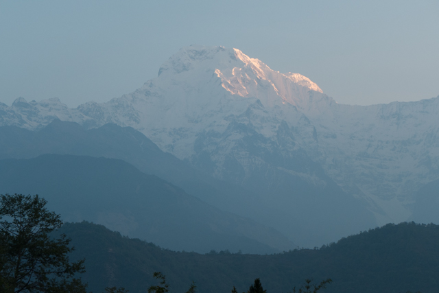 Sunrise on Annapurna South.  At almost 24,000 ft, it rises way high above the foreground hills.