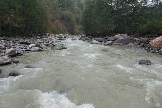 In September, after the July/August monsoons, this river is well over the boulders.