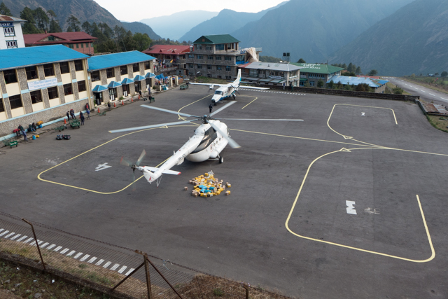 Aircraft parking area at the Tenzing-Hillary Airport is limited.