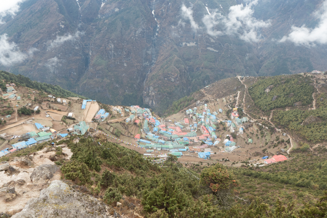 A great view of horseshoe-shaped Namche Bazar from the path above.