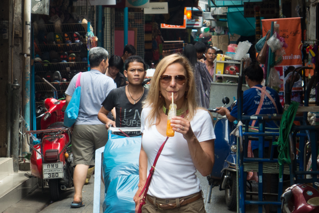 The orange juice from the street vendor was freshly squeezed.  Yum!!