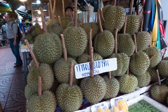 Durian fruit, a delicacy in asian countries.  We ended up trying some in Singapore.  Our first and last.