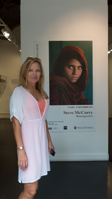 "We walked over the hill to Nice to visit an exhibition for Steve McCurry...which was awesome.  McCurry took his most recognized portrait, ""Afghan Girl"", in a refugee camp near Peshawar, Pakistan in 1985. The image itself was named as ""the most recognized photograph"" in the history of the National Geographic magazine."