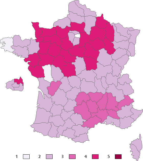 Air kissing by region in France