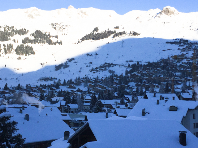 The town of Verbier is nestled in a broad plateau about 1,500 feet above the valley floor.