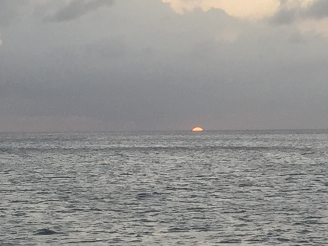 From Nirvana Restaruant on St. Kitts.  No clouds on the horizon - we think we might see a green flash.
