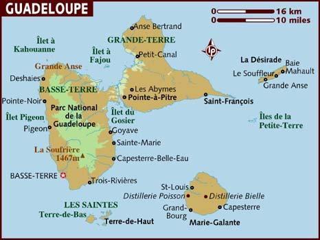 Map of Guadeloupe, which is part of France.