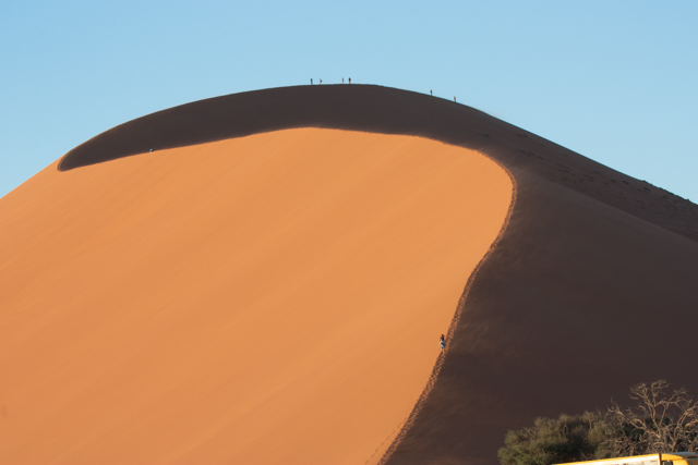 Some dunes can be hiked as long as the hikers follow a crest.