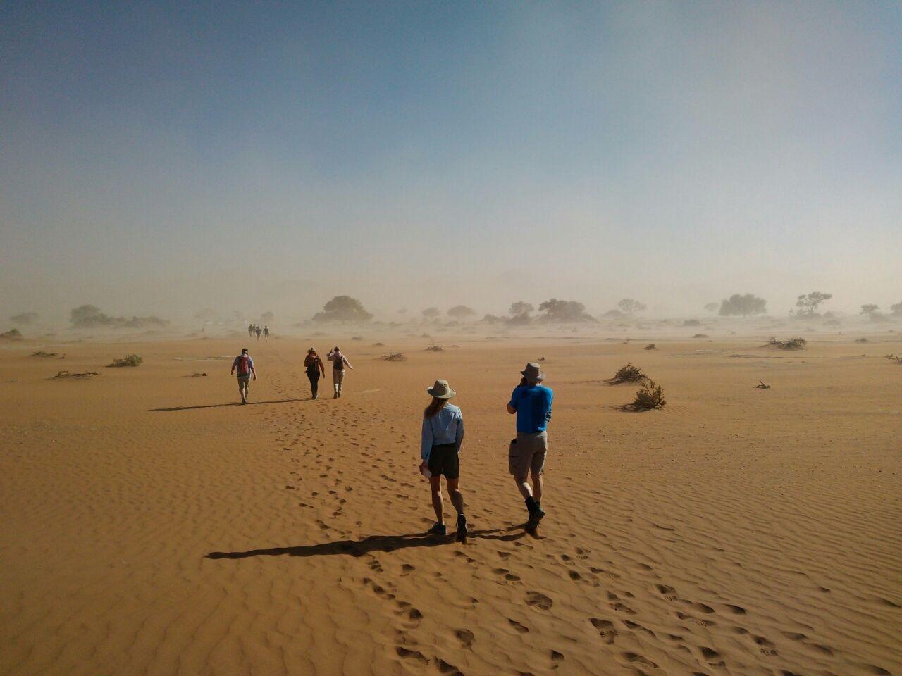 Making footprints in the Namibian desert.