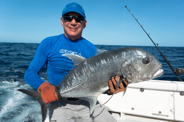 Mark caught a giant trevally estimated at 45lbs by our guide.