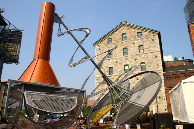 One of the large outdoor sculptures at the Distillery.