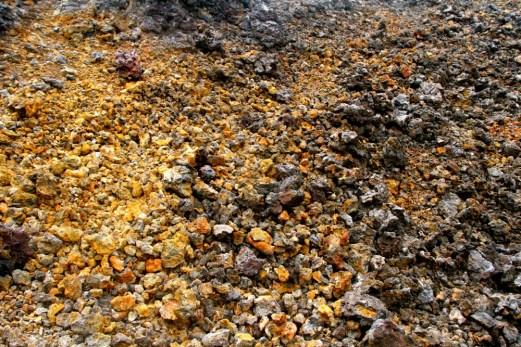 Different coloured lava rocks