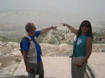 Carlos apontando para a Síria e eu para Israel. Se estivesse claro veríamos o Líbano