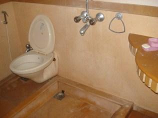 Banheiro. Olha que peça de engenharia. Chuveiro no meio.