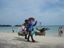 Muito comum nas praias vendendo comida